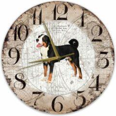 Bruine Creatief Art Houten Klok - 30cm - Hond - Appenzeller