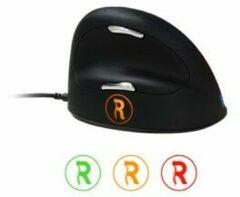 R-Go Tools Bedrade Verticale Ergonomische Muis HE Break (165-195mm) Optisch voor Rechtshandige gebruikers 1,6 m USB-A kabel Zwart, zilver