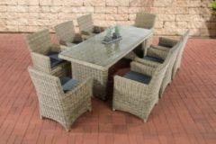CLP Polyrattan-Sitzgruppe FONTANA XL inklusive Polsterauflagen Garten-Set bestehend aus einem Esstisch mit einer pflegeleichten Tischplatte aus Glas