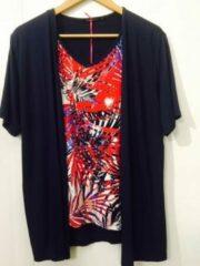 Merkloos / Sans marque Pink Lady dames blouse dubbel blauw / rood - maat XL