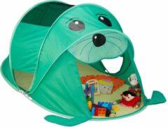 Relaxdays Speeltent pop-up - kindertent - tent kinderen - speelgoedtent - zeehond - groen