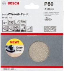 Bosch Schleifblatt M480 Net, Best for Wood and Paint, 125 mm, 80, 5er-Pack VPE: 5