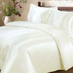 Creme witte Beauty Silk - Dekbedovertrek Satijn - Creme - 140x200/220