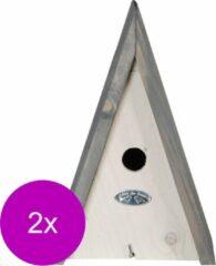 Best For Birds Nestkast Driehoek L - Broeden - 2 x 19x18x28 cm Wit Grijs