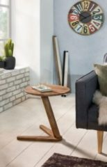 Wohnling Beistelltisch BOHA Massivholz Sheesham Design Wohnzimmer-Tisch 45 x 45cm rund Nachttisch Natur-Holz Landhaus-Stil