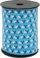 Hegro Wolvega BV Cadeaulint / sierlint / verpakkingslint / kadolint 10mm breed lichtblauw bedrukt met babyspeen