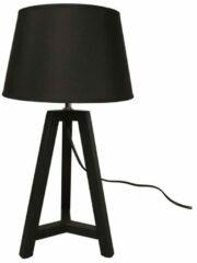 WOOOD Exclusive Omar Tafellamp - Bamboe/Stof - Zwart - 44x24x24