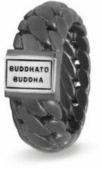 Donkergrijze Buddha to Buddha Ben Small ring van gerhodineerd sterling zilver met details van gepolijst zilver