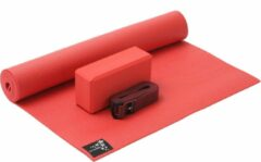 Rode Yoga-Set Kick-It (Yoga mat + yoga blok + yoga belt) fire red Fitnessmat YOGISTAR
