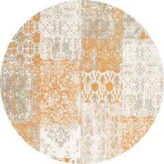 Oranje Gínore Vintage rond vloerkleed - Patchwork - Tapijten woonkamer - Monarch - 140cm ø