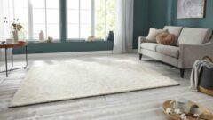 Creme witte Tapeso Handgetuft hoogpolig vloerkleed Supersoft - crème 80x250 cm