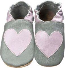 Hobea Babyslofjes grijs met roos hartje (Kruip)