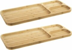 Bruine Items Set van 2x stuks bamboe houten 3-vaks barbecuebord 39 x 16 x 2 cm - Serveerbladen/serveerbord/barbecuebord met vakjes