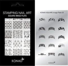 Grijze KONAD Square nagel stempelplaat 02 met 15 ' FRENCH MANICURE ' nagel stempel motieven.
