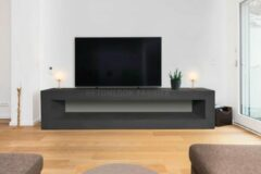 Zwarte Betonlook TV-Meubel open vak | Black Steel | 100x40x40 cm (LxBxH) | Betonlook Fabriek | Beton ciré