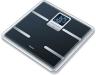 Zwarte Beurer personenweegschaal BG 40, stijlvol omrande glazen diagnoseweegschaal