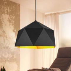 Wohnling Design Hängelampe HEXAGON Ø 38cm schwarz/gold Deckenlampe mit Metall-Schirm Moderne Hängelampe Loft Pendellampe Industrie Deckenleuchte E2