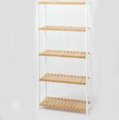 Witte Decopatent® Schoenenrek voor 20 paar schoenen - Schoenen Rek bamboe hout met 5 etages - Opbergrek - badkamerrek - 60 x 25 x 132 Cm