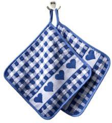 Set van 2 pannenlappen Hart Kracht blauw