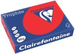 Rode Clairefontaine Trophée Gekleurd papier A4 80 g/m² Koraalrood 500 Vel
