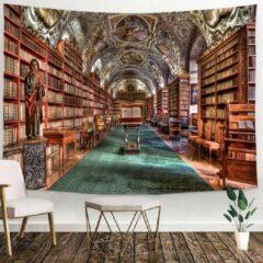 Groene Ulticool - Bibliotheek Boeken Bibliotheekkast Library - Wandkleed - 200x150 cm - Groot wandtapijt - Poster