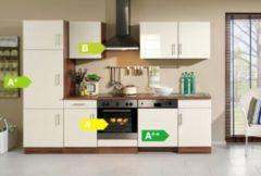 HELD Möbel Küchenzeile Nevada 280 cm Hochglanz creme - inkl. E-Geräte