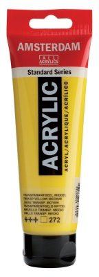 Afbeelding van Gele Royal Talens Standard tube 120 ml Transparantgeel middel transparante acrylverf transparant geel middel