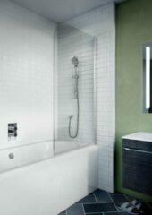 Crosswater Kai badwand 90x138cm 1 wand 6mm helder veiligheidsglas draaibaar aluminium zilver KLBSSC0900
