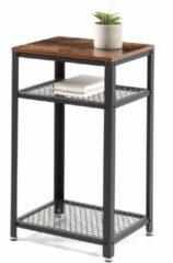 Acaza Hoge Consoletafel met Industriële Look - Tafeltje voor de Inkom Hal, Woonkamer of Slaapkamer - 45 x 35 x 75 cm - Zwart / Industriëel Bruin
