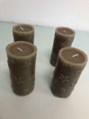 Merkloos / Sans marque Kaarsen met sterretjes, goud ( 4 stuks )