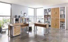 Büromöbel Set Alteiche/ Brillant weiss mit Schreibtischwinkelkombination und Aktenschränken FMD aivlac