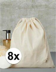 Beige Merkloos / Sans marque 8 x Sporttasjes met koord 25 x 30 cm - Bedrukbare sporttasjes