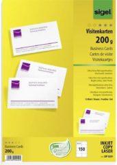 Sigel Visitenkarten, microperforiert Bedrukbare visitekaarten DIN A4 200 g/m² 150 stuks Hoog-wit