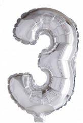 Partywinkel Folie Ballon Cijfer 3 Zilver 41cm met rietje