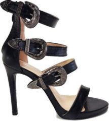 Zwarte Power Escorts - Super sexy Hoge hakken - Black Moda Alice Sandals - High Heels - Size 39 - Must voor iedere moderne chick