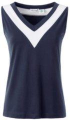 Blauwe Casual Looks shirttop met breed contrastkleurig beleg