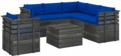 Blauwe VidaXL 7-delige Loungeset met kussens pallet massief grenenhout VDXL 3061921