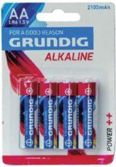 Blauwe Grundig batterijen alkaline AA LR6 2100 mAh 4 stuks
