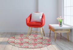 Rode MatStyles Rond Vloerkleed Tapijt Mat Appels - Wasbaar - Antislip - 150 x 150 cm