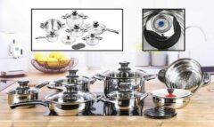 Zilveren Haushalt International Pannenset - topkwaliteit - 16 delig - RVS - met glasdeksel - met thermometer