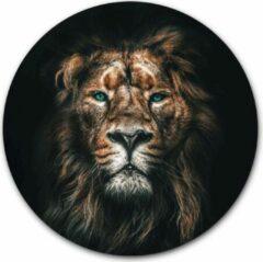 Zwarte Ronde muursticker Leeuw - WallCatcher | 100 cm behangsticker wandcirkel Lion | Herpositioneerbare wandsticker muurcirkel