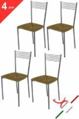 T m c s Tommychairs - Set van 4 moderne stoelen, model Elegance. Zeer geschikt voor keuken, eetkamer, maar ook voor de horeca. Aluminium gelakte stalen structuur met echte strozitting