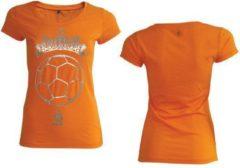 KNVB - Nederlands Elftal - Leeuwinnen T-shirt Dames - Tiara Bal - Blanco - Oranje-M