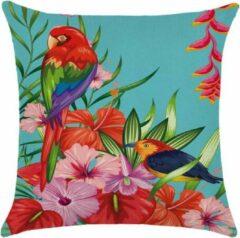 Lichtblauwe By Javy Kussenhoes Amazone - Vogels - Kussenhoes - 45x45 cm - Sierkussen - Polyester
