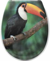 Gebor Toiletbril – Toiletzitting – Wc-bril – Toekan – Soft Close – Verchroomde Scharnieren – Thermodur – Duroplast – 37,50x46cm – Universeel Formaat – Tropische Vogel – Regenwoud