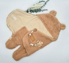 Mon Avenir - Baby Teddy Inbakerslaapzak - Bruin - Dun - 0-3 maanden