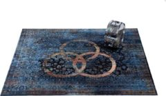 Drum'n Base DRUMnBASE vintage persian 185x160cm Bonzo - Drumtapijt, kleur: Bonzo (blauw 'John Bohnam') - Blauw