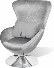 Merkloos / Sans marque Luxe Fauteuil Zilver draaibaar ei-vormig / Loungestoel / Lounge stoel / Relax stoel / Chill stoel / Lounge Bankje / Lounge Fauteuil - Luxe Fauteuil