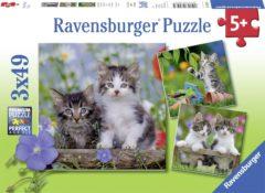Ravensburger puzzel katten - Drie puzzels - 49 stukjes - kinderpuzzel