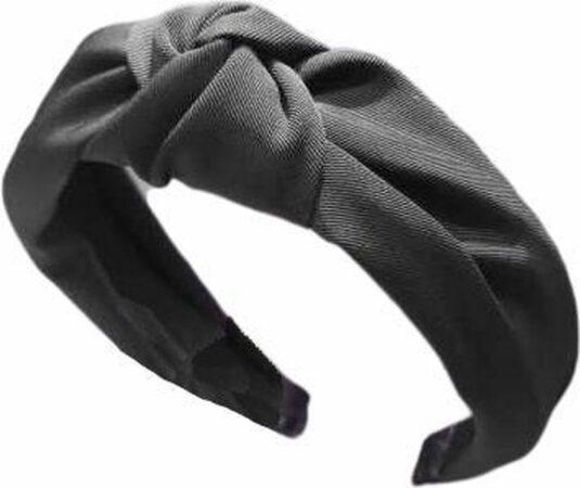 Afbeelding van MINIIYOU® Basic zwarte dames haarband - diadeem met knoop zwart | Haarband volwassenen - vrouwen - dames - tieners - meiden